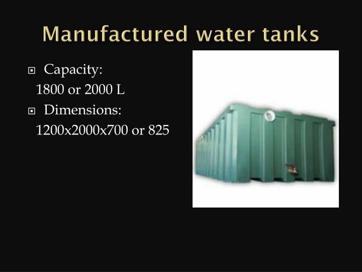 Manufactured water tanks
