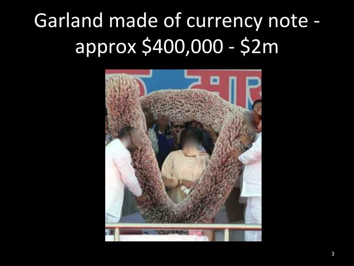 Garland made of currency note - approx $400,000 - $2m