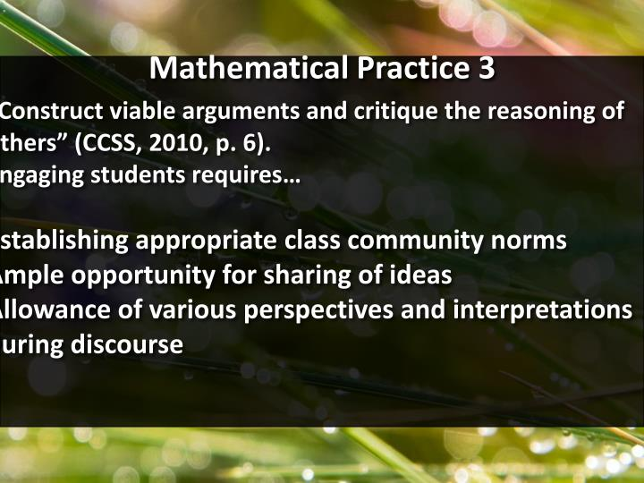 Mathematical Practice 3