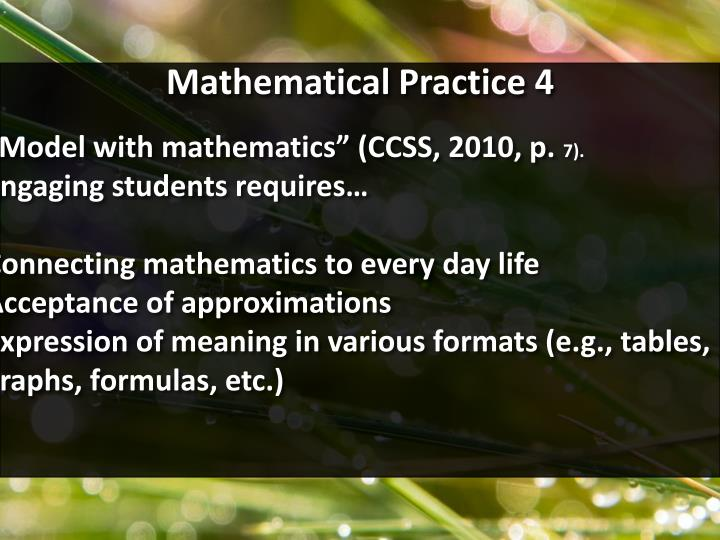 Mathematical Practice 4