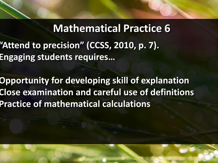 Mathematical Practice 6