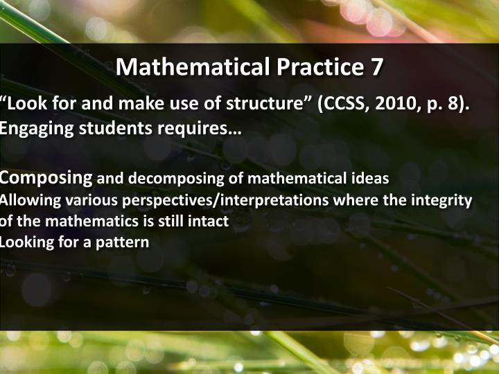 Mathematical Practice 7