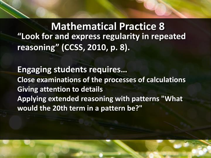 Mathematical Practice 8