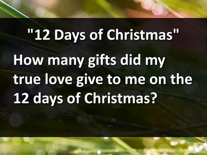 """12 Days of Christmas"""
