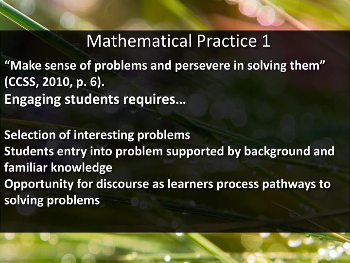 Mathematical Practice 1
