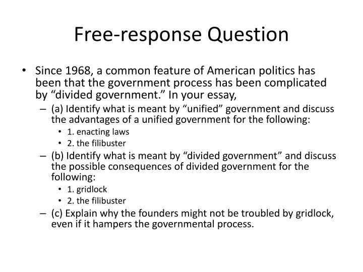 2003 ap government free response Protection from government power • tenth amendment - student must demonstrate an understanding that powers not mentionedin the constitution are reserved to the states and people.