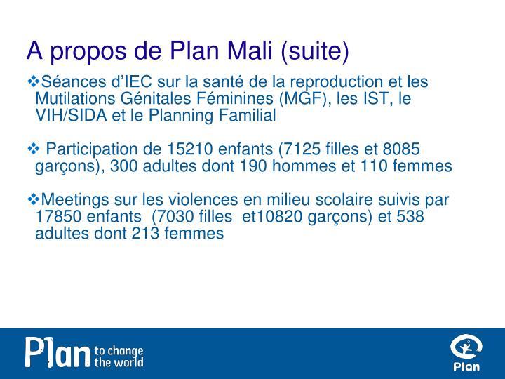 A propos de Plan Mali (suite)