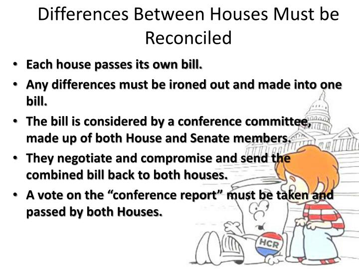 Differences Between Houses Must be Reconciled