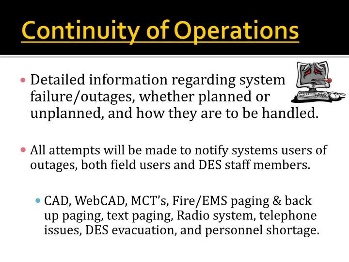 Continuity of Operations