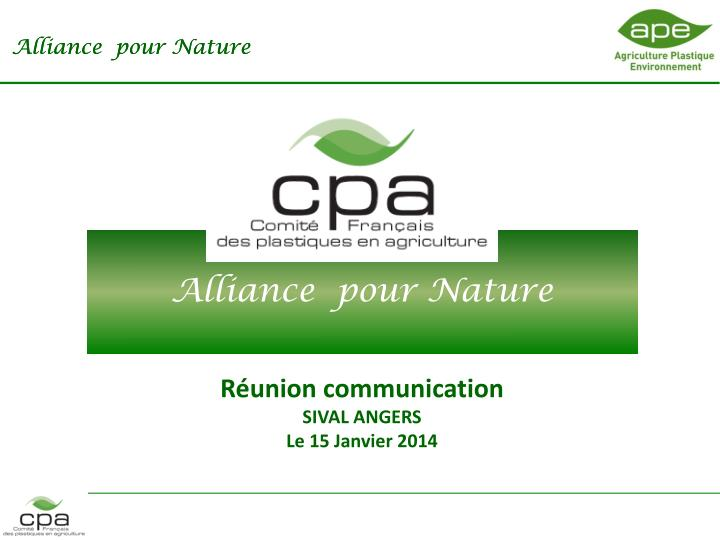 Alliance pour nature