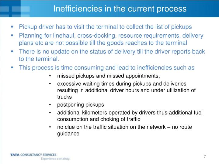 Inefficiencies in the current process