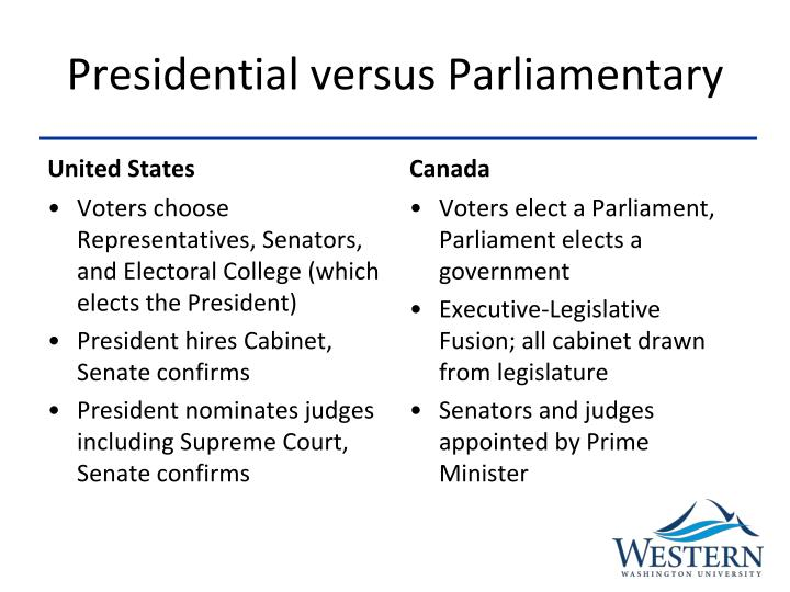 compare and contrast presidential and parliamentary system Systems of government: parliamentarism and presidentialism by: jose cheibub parliamentary and presidential democracies: which one is best with the exception of the united states, where a.