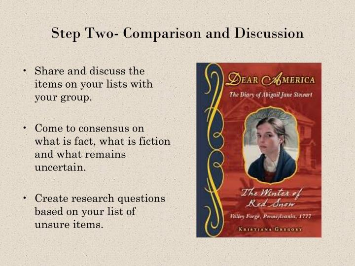Step Two- Comparison and Discussion