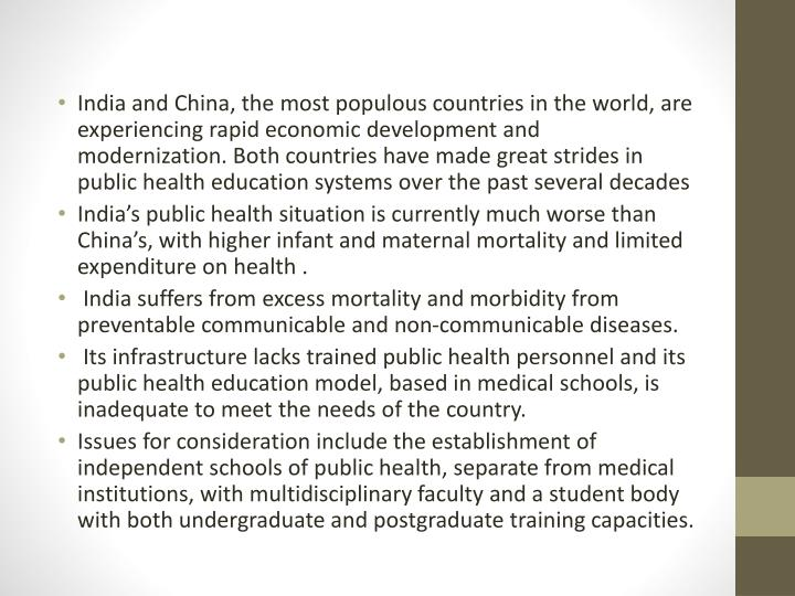 India and China, the most populous countries in the world, are experiencing rapid economic development and modernization. Both countries have made great strides in public health education systems over the past several