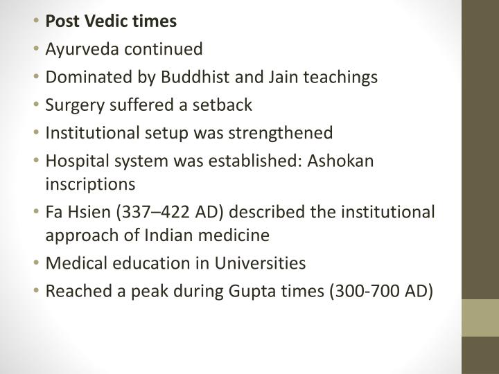 Post Vedic times