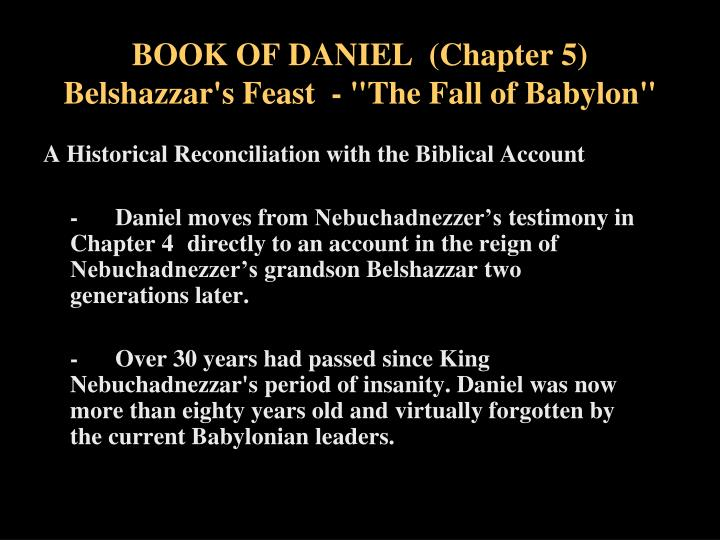 Book of daniel chapter 5 belshazzar s feast the fall of babylon