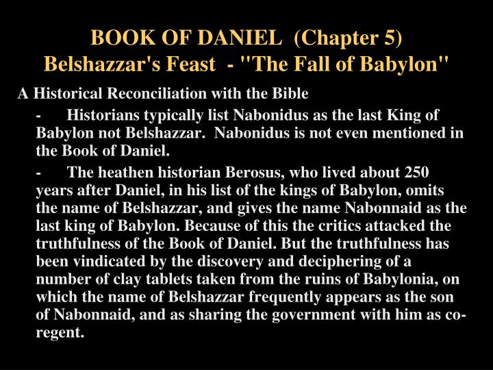Book of daniel chapter 5 belshazzar s feast the fall of babylon1