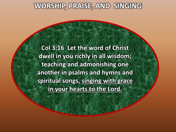 WORSHIP, PRAISE, AND  SINGING