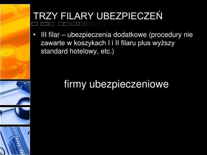 TRZY FILARY UBEZPIECZEŃ