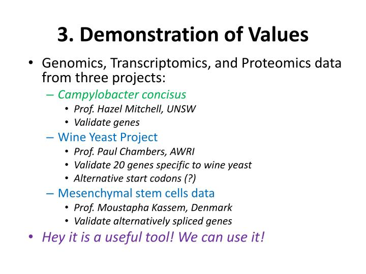 3. Demonstration of Values