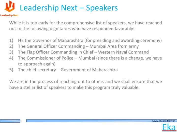 Leadership Next – Speakers
