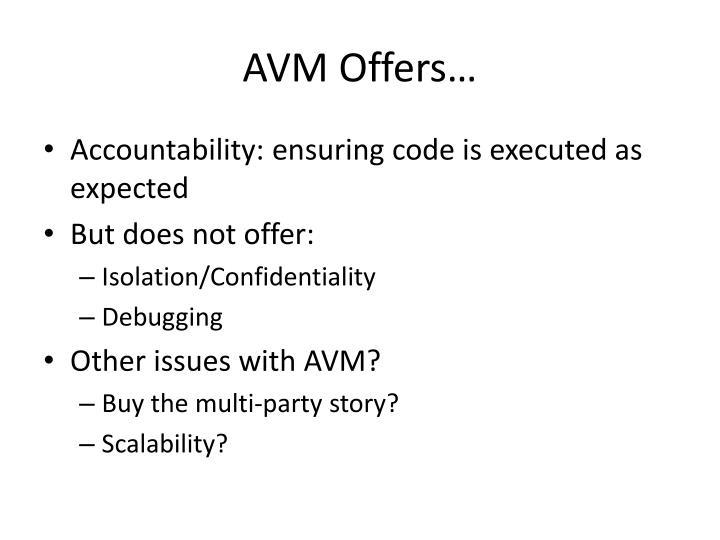 AVM Offers…