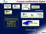 crearea certificatului digital
