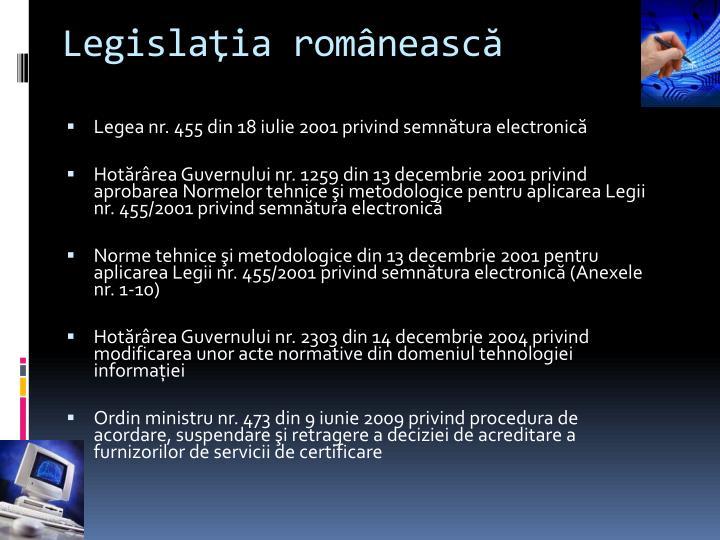 Legislaţia românească