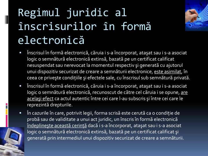 Regimul juridic al înscrisurilor în formă electronică