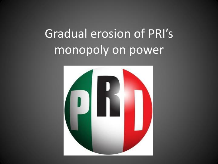 Gradual erosion of PRI's monopoly on power