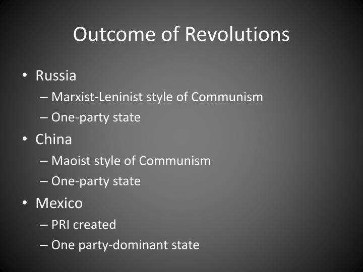 Outcome of Revolutions