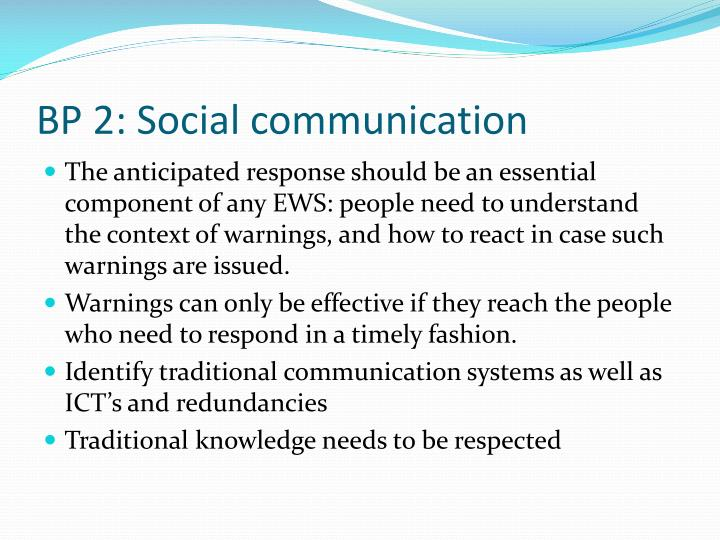 BP 2: Social communication