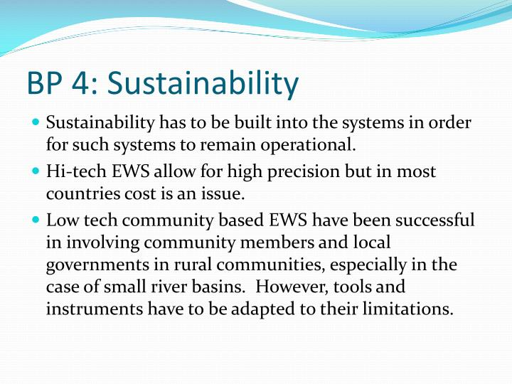 BP 4: Sustainability