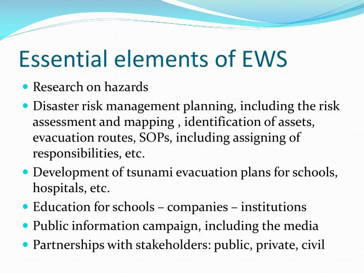 Essential elements of EWS