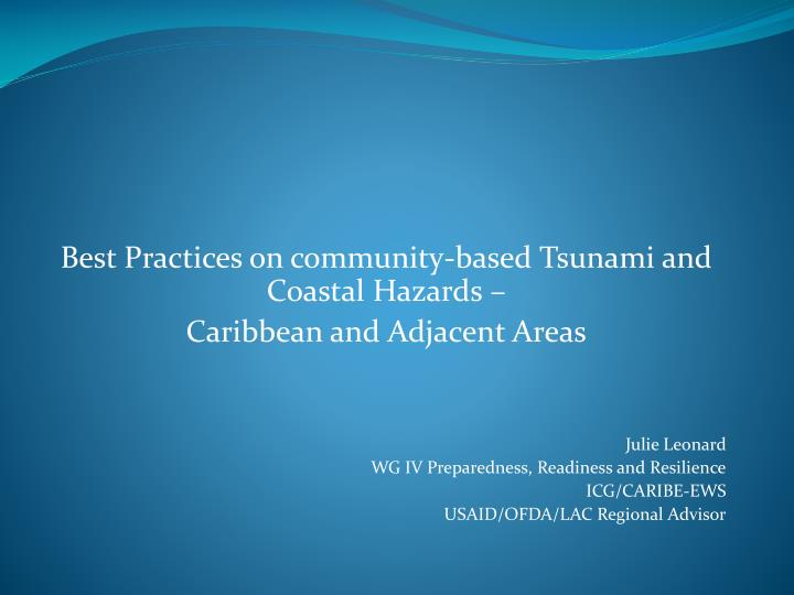 Best Practices on community-based Tsunami and Coastal Hazards –