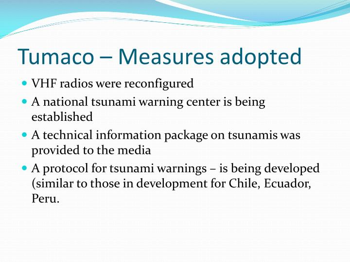 Tumaco – Measures adopted