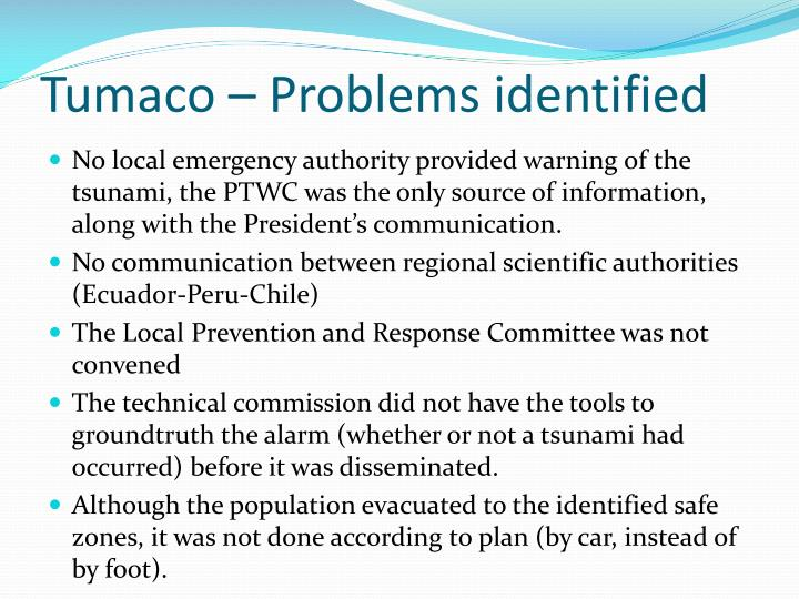 Tumaco – Problems identified