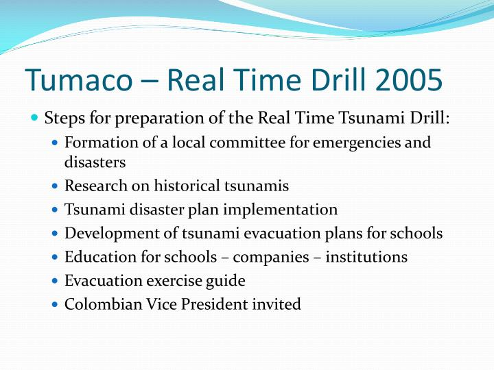 Tumaco – Real Time Drill 2005