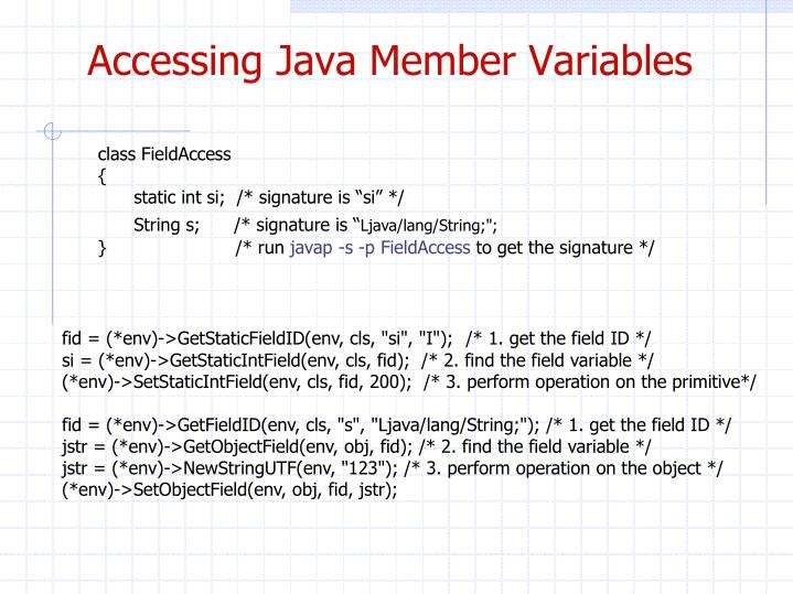 Accessing Java Member Variables