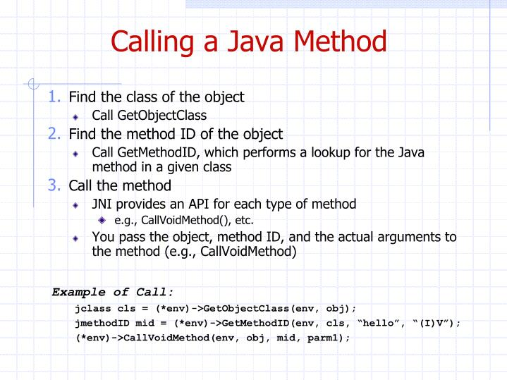 Calling a Java Method