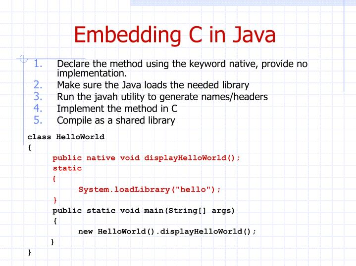 Embedding C in Java