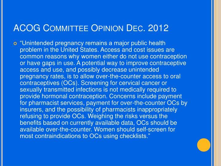 ACOG Committee Opinion Dec. 2012