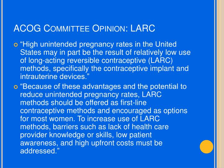 ACOG Committee Opinion: LARC