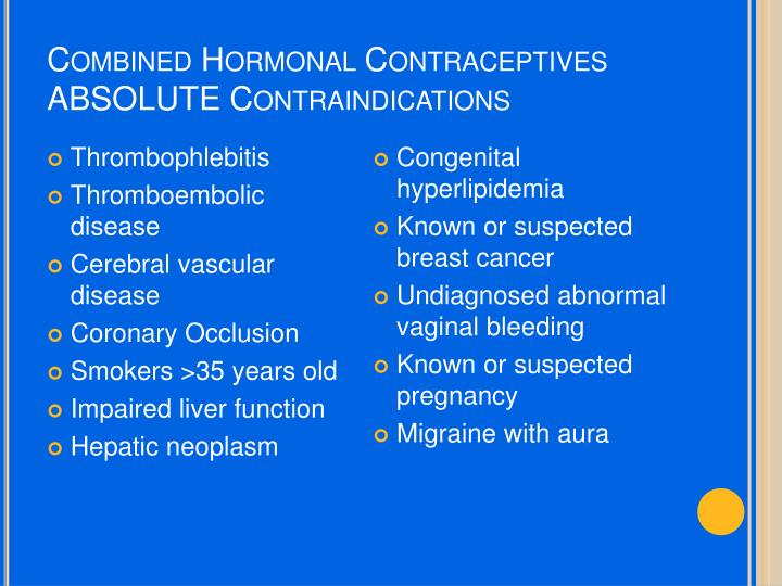 Combined Hormonal Contraceptives ABSOLUTE Contraindications