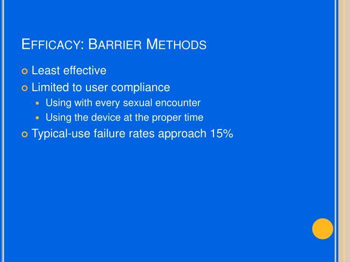 Efficacy: Barrier Methods