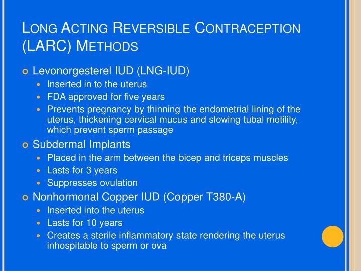 Long Acting Reversible Contraception (LARC) Methods