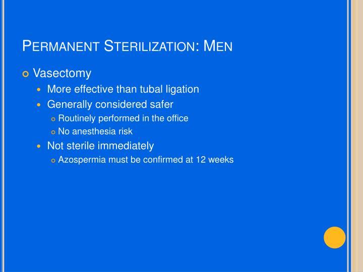 Permanent Sterilization: Men