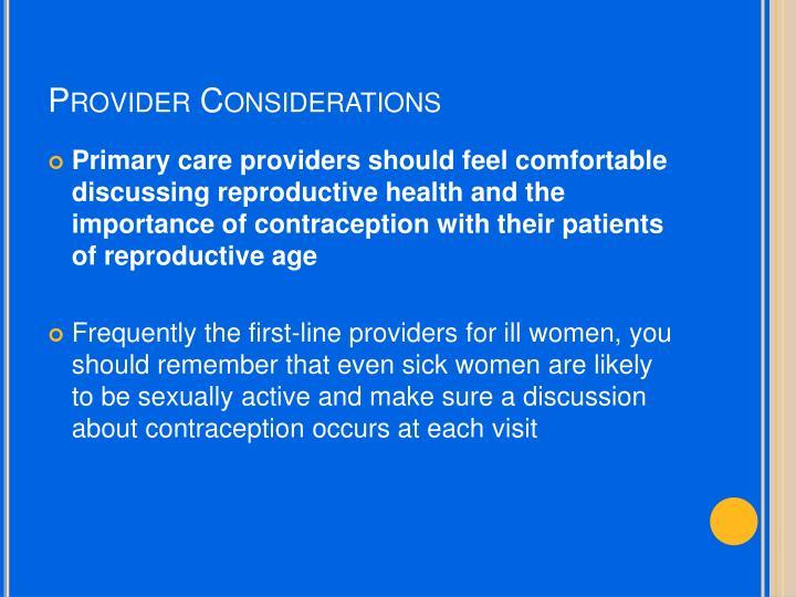 Provider Considerations