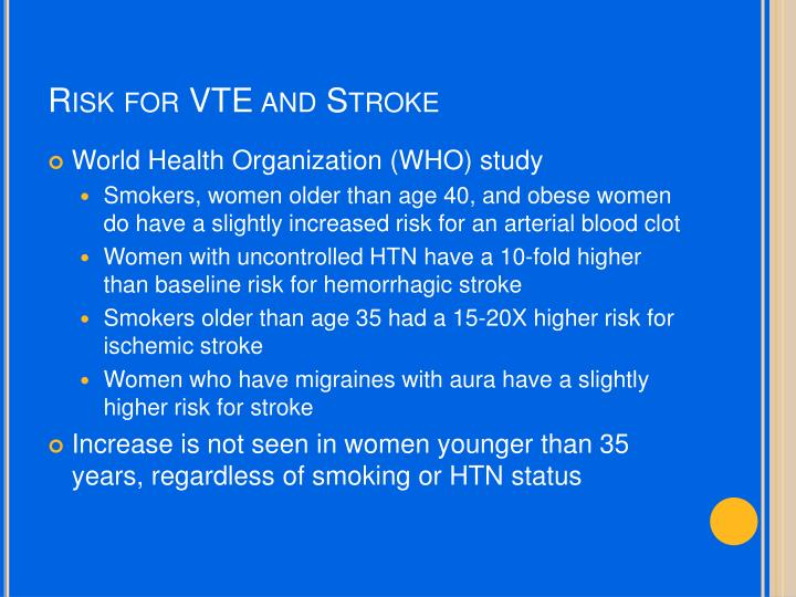 Risk for VTE and Stroke