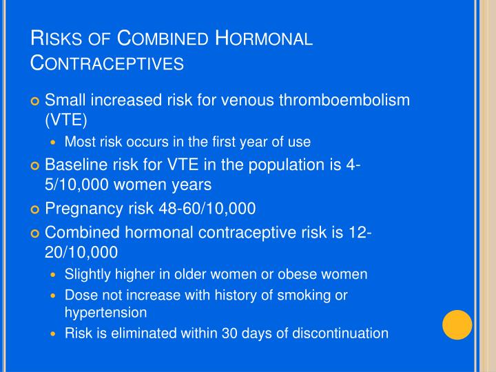 Risks of Combined Hormonal Contraceptives